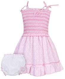 Babyhug Singlet Frock with Bloomer and Floral Motif - Pink