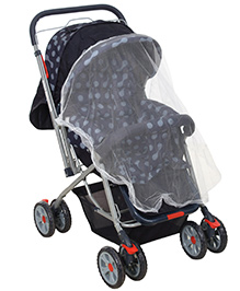 Fab N Funky Pram With Reversible Handle Navy Blue - Dotted Print