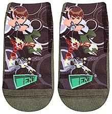 Mustang Ankle Length Socks Ben 10 Print - Olive Green