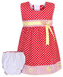 Babyhug Sleeveless Frock with Bloomer and Polka Dots - Red