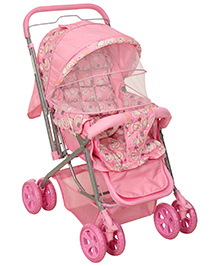 Fab N Funky Pram With Reversible Handle Pink - Sheep Print