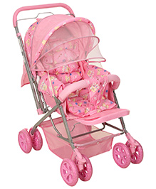 Fab N Funky Pram With Reversible Handle Pink - Teddy Print