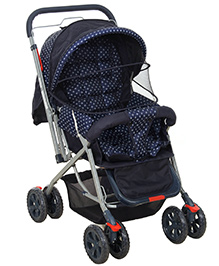 Fab N Funky Pram With Reversible Handle - Navy Blue