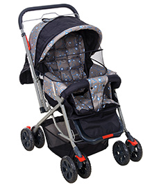 Fab N Funky Pram With Reversible Handle  - Grey and Navy Blue