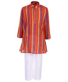 Babyhug Full Sleeves Kurta And Pajama Multi Stripes Print - Orange