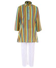 Babyhug Full Sleeves Kurta And Pajama Multi Stripes Print - Green