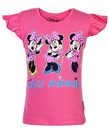 Disney Cap Sleeves Top with Minnie Print - Pink
