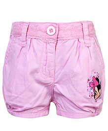 Disney Shorts with Lace Detail On Waist and Minnie Print - Pink