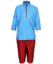 Babyhug Full Sleeves Pintex Kurta With Pathani - Blue And Red