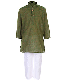 Babyhug Full Sleeves Kurta And Pajama Pin Stripes Print - Green
