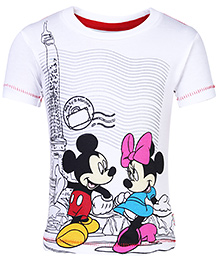 Disney Half Sleeves T-Shirt with Mickey and Minnie Print - White