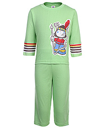 Zero Full Sleeves T-Shirt and Pant Set with Jungle Boy Print - Green