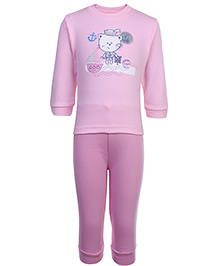 Zero Full Sleeves T-Shirt and Pant Set with Sailor Kitty Print - Pink