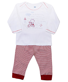 Zero Full Sleeves T-Shirt and Legging with Boy On Ride Print - White and Maroon