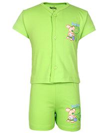 Babyhug Half Sleeves T-Shirt And Shorts With Rat Print - Green