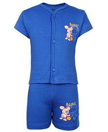 Babyhug Half Sleeves T-Shirt And Shorts With Rat Print - Blue