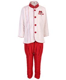 Babyhug Full Sleeves Kurta And Pajama Set - Cream And Red