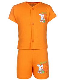 Babyhug Half Sleeves T-Shirt And Shorts With Rat Print - Orange