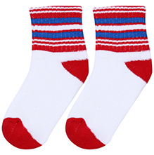 Cute Walk Socks Stripes Print - White Blue And Red