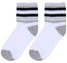 Cute Walk Socks Stripes Print - White Grey And Black