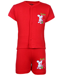 Babyhug Half Sleeves T-Shirt And Shorts With Rat Print - Red