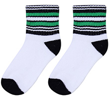 Cute Walk Socks Stripes Print - White Black And Green