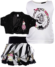 Peppermint Sleeveless Top And Skirt With Shrug - Black And White