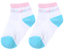 Cute Walk Ankle Socks M Print On Border - White And Turquoise