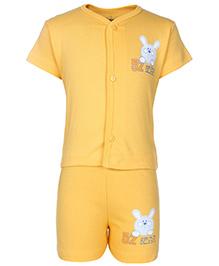 Babyhug Half Sleeves T-Shirt And Shorts With Bear Print - Light Yellow
