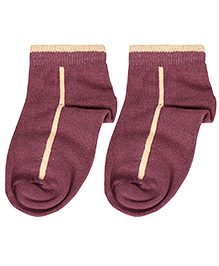 Cute Walk Ankle Length Socks - Dark Brown And Peach