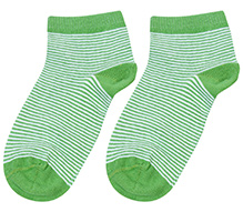 Cute Walk Ankle Length Socks Stripes Print - Green And White