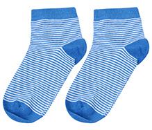 Cute Walk Ankle Length Socks Stripes Print - Blue And White