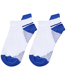 Cute Walk Ankle Length Socks Dual Colour Design - Dark Blue And White