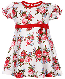 Babyhug Short Sleeves Frock Red - Floral Print