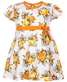 Babyhug Short Sleeves Frock Orange - Floral Print