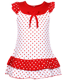 Babyhug Flutter Sleeves Frock Red - Polka Dot Print