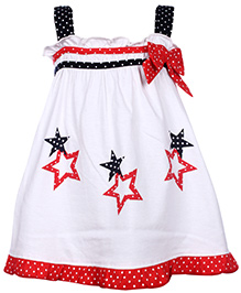 Babyhug Singlet Frock Red - Polka Dot And Star Print