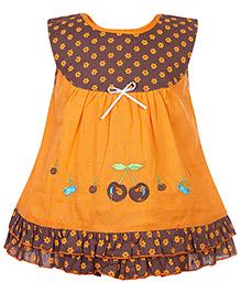 Babyhug Sleeveless Frock Flower Print - Orange And Brown