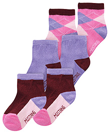 Mustang Ankle Length Socks Multi Print - Set of 3