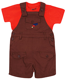 FS Mini Klub Dungaree Style Romper With Half Sleeves T-Shirt - Brown and Orange