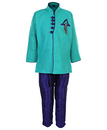 Babyhug Full Sleeves Kurta And Pajama Set - Green And Blue