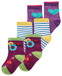 Cute Walk Ankle Length Socks Multi Print - Set of 3