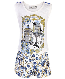 Peppermint Sleeveless Printed Top And Shorts - Blue