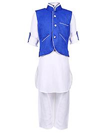 Babyhug Full Sleeves Kurta With Pathani And Jacket - Blue And White