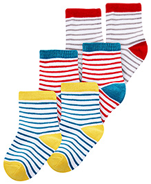 Cute Walk Ankle Length Socks Stripes Print Multi Colour - Set of 3