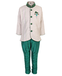 Babyhug Full Sleeves Kurta And Pajama Set - Cream And Green