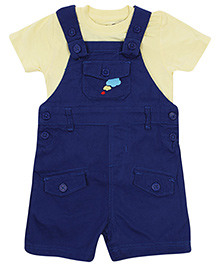 FS Mini Klub Dungaree Style Romper With Half Sleeves T-Shirt - Navy Blue and Yellow
