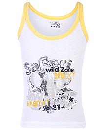 Sublime Sleeveless Sando Safari Print - Yellow And White