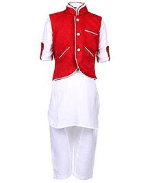 Babyhug Full Sleeves Kurta With Pathani And Jacket - Maroon And White