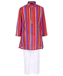 Babyhug Full Sleeves Kurta And Pajama Multi Stripes Print - Multi Colour